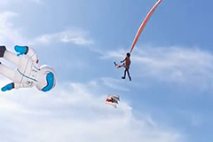 Girl miraculously unharmed after being thrown into sky by kite in Taiwan