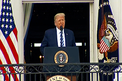 Trump makes unmasked public appearance after hospital release while U.S. COVID-19 cases soar