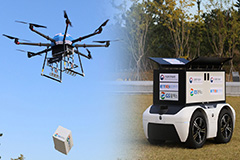 Drone and autonomous robot deliver package to island