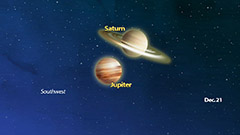 The great conjuction of Jupiter and Saturn to happen Monday night, local time