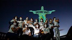 Rio de Janeiro's Christ the Redeemer lit up with 'vaccine saves' message