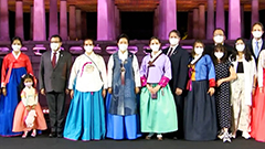 Traditional Hanbok made with upcycled trash, creating sustainable fashion.