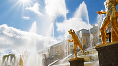 Fountains at Peterhof Palace in Russia celebrates 300th anniversary