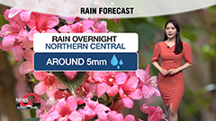 Light showers across northern central regions overnight...temperatures on warming trend