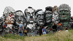 'Mount Recyclemore' sculpture created with e-waste depicting G7 leaders