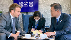 President Moon reaffirms stronger emissions target, emphasizes free trade and open economy at G7