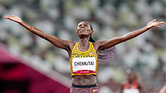 Peruth Chemutai becomes first Ugandan woman to win gold in Olympics in 3,000m steeplechase