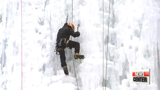 Scaling a spectacular wall of ice