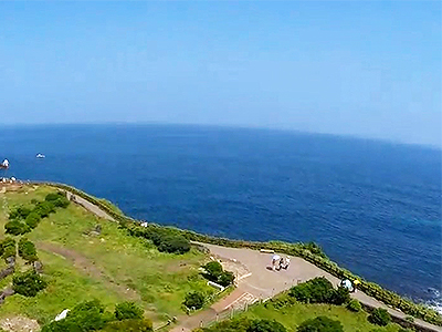 Aerial view of Jeju Island's vast blue sea