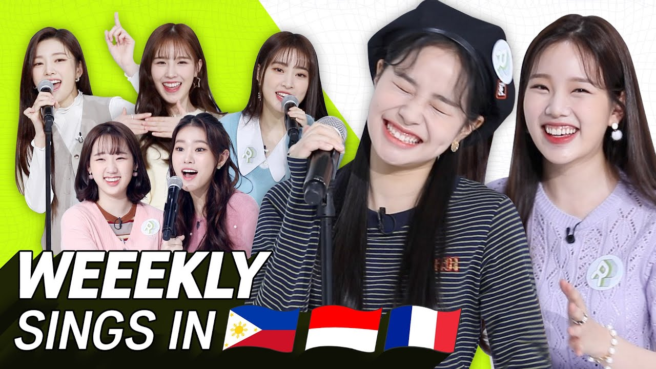 K-POP STARS sing in THREE Languages🎤| INA/TAG/FRE | Weeekly | TRANSONGLATION