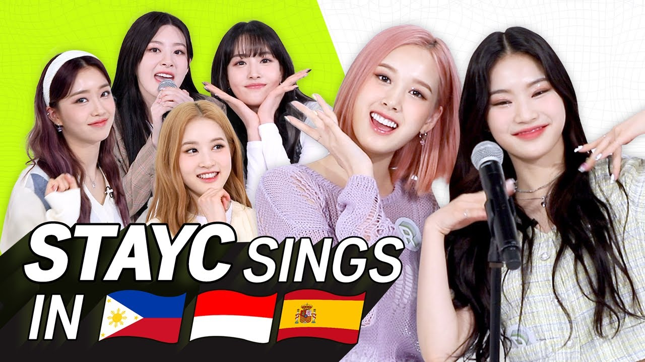 K-POP STARS sing in THREE Languages🎤| TAG/INA/SPN | STAYC | TRANSONGLATION