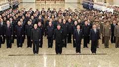 Kim Jong-un pays tribute at Kumsusan Palace to mark anniversary of late grandfather's death, dismisses health rumors