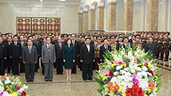 N. Korean leader pays tribute to former leaders to mark founding anniversary