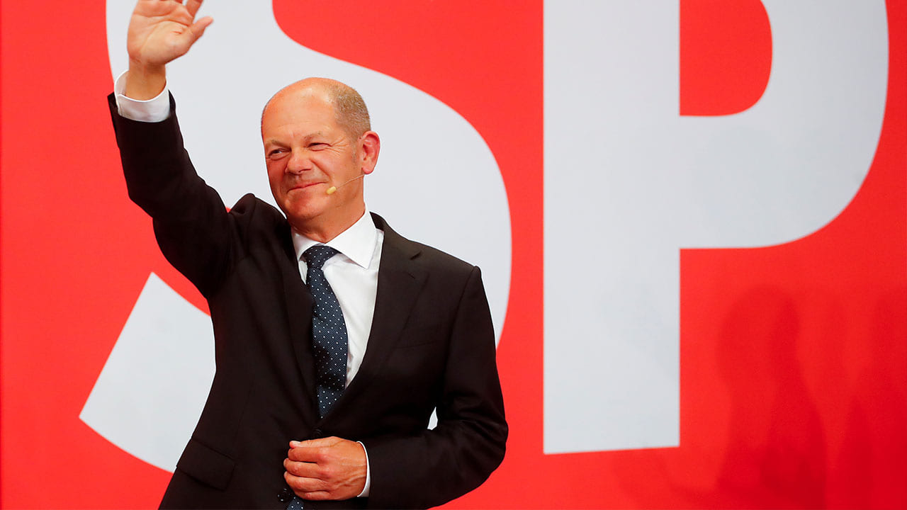 Social Democrats take narrow win against Merkel's conservative party in German chancellor race