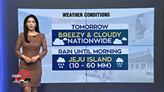 Breezy spells tomorrow...isolated showers for Jeju Island until morning