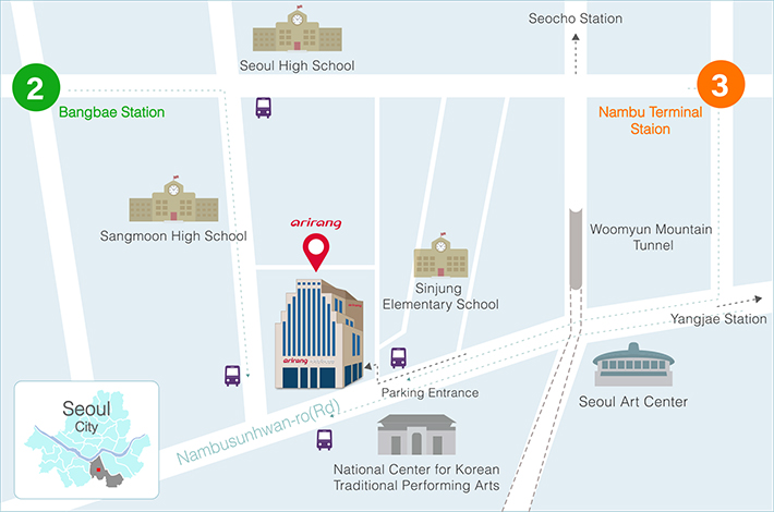 Arirang TV's coming map. For more information, please refer to the body text.